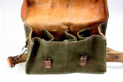 画像1: Vintage 1950's French Military Canvas and Leather ショルダーバッグ/フランス 【未使用】